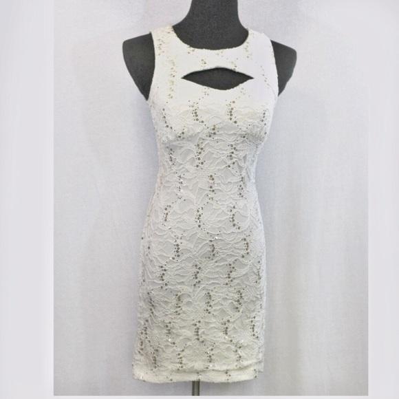 8d88c2f7a Emerald Sundae Dresses | White Lace Sequin Bodycon Dress M | Poshmark